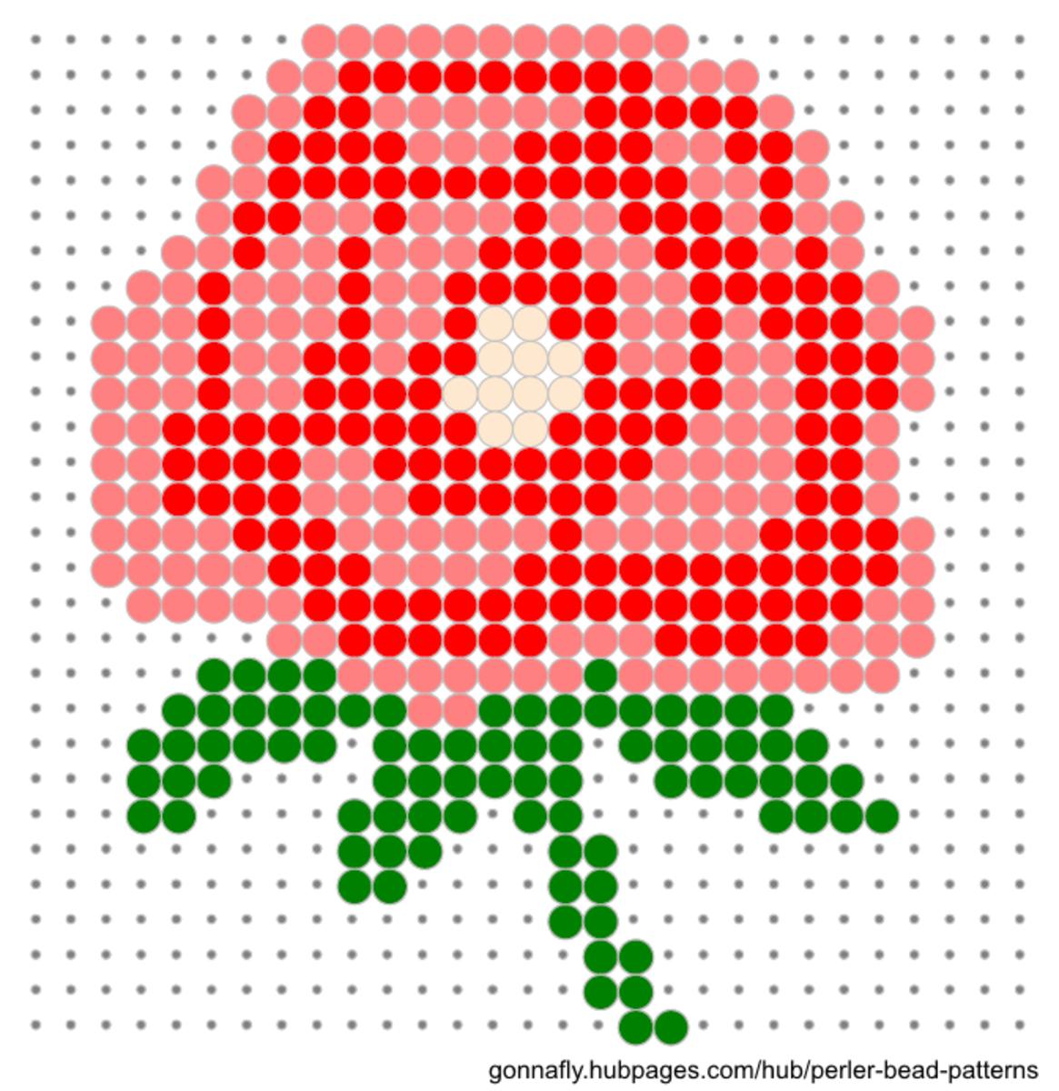 Red rose perler bead pattern