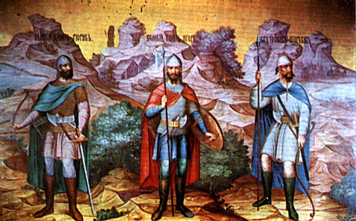 From the Palace of Facets in the Kremlin, Moscow, a mural that shows Rurik, Igor and Svyatoslav