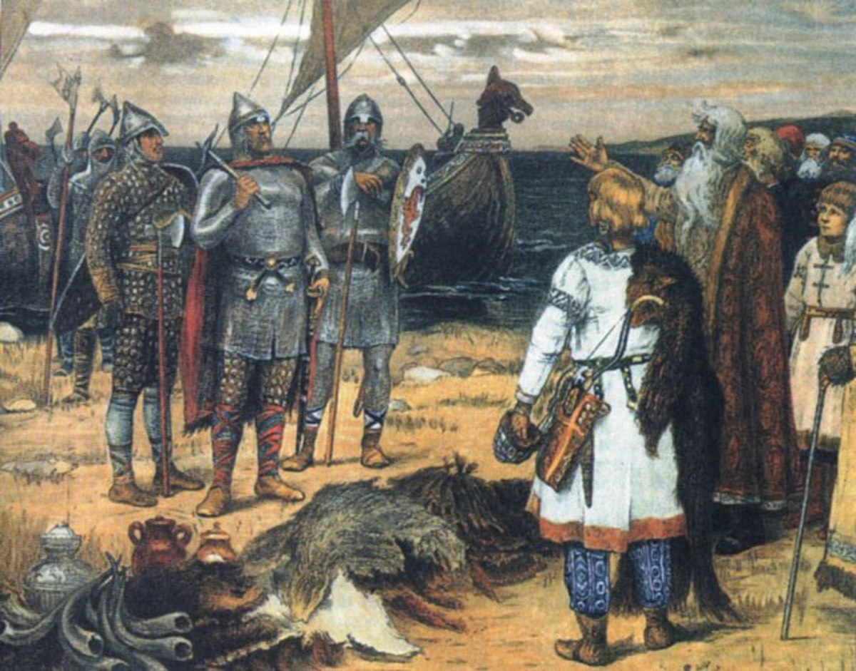 A painting by Viktor Vasnetsov of the Varangians or Rus being greeted by the native Slavs in what is now northern Russia - the ship's prow looks a bit dodgy, with the sail still up and full but apart from that the picture shows costume and kit
