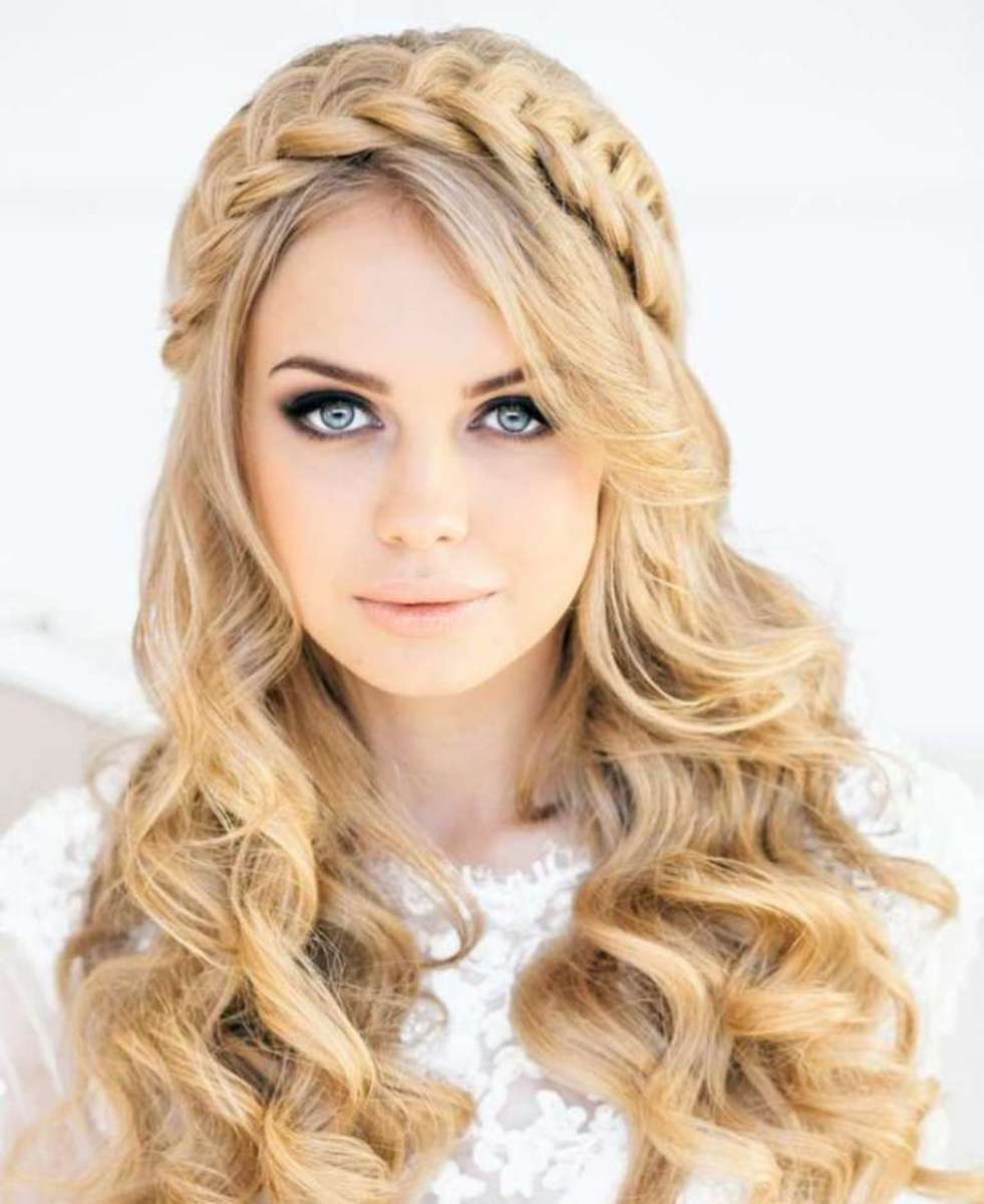 A braided and wavy hairstyle