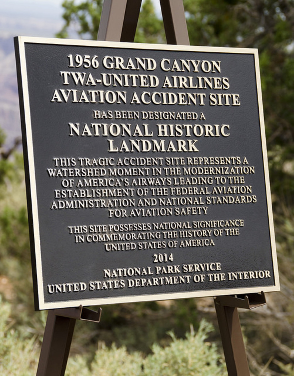 Plaque dedicating the accident site as a National Historic Landmark in 2014.