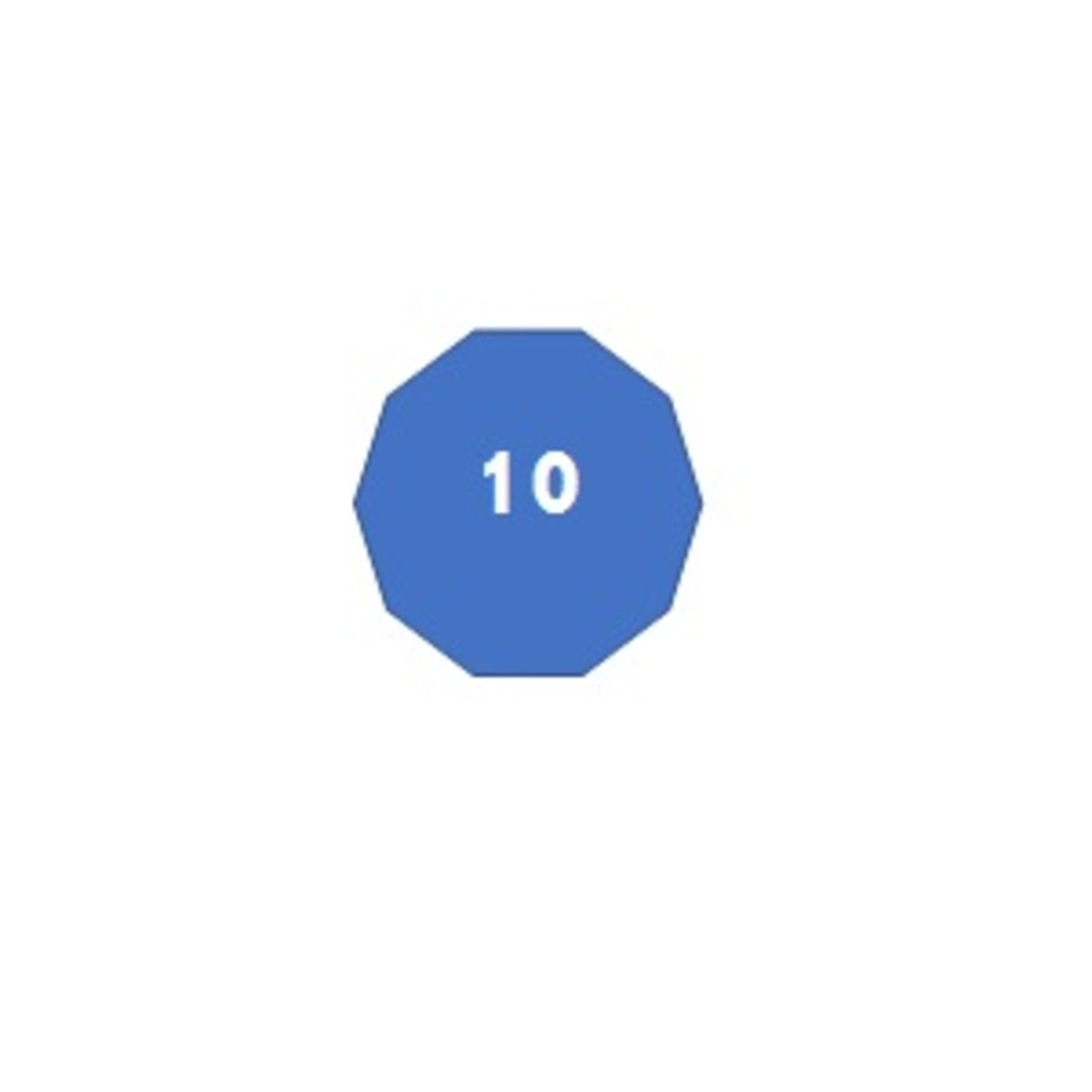 A decagon has 10 sides.