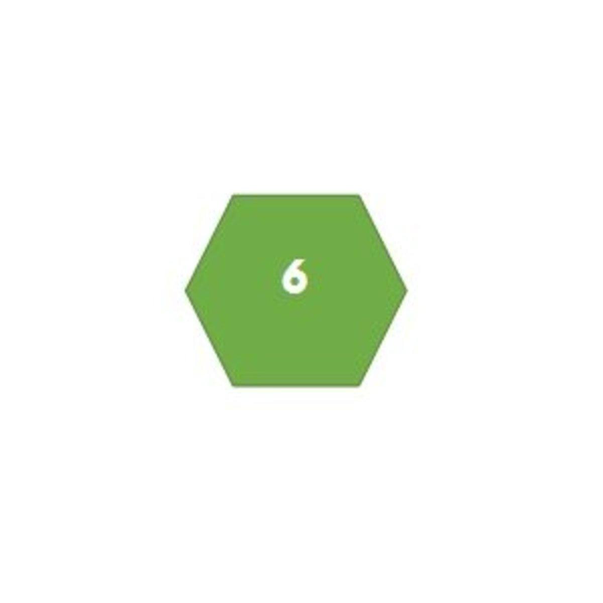 A hexagon has 6 sides.