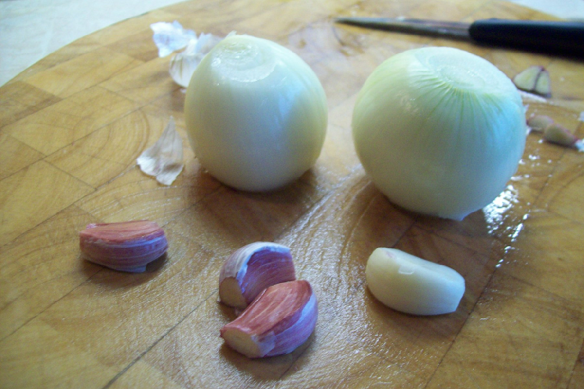 Choose sweet white onions and the strongest garlic you can find whilst the potatoes are frying.