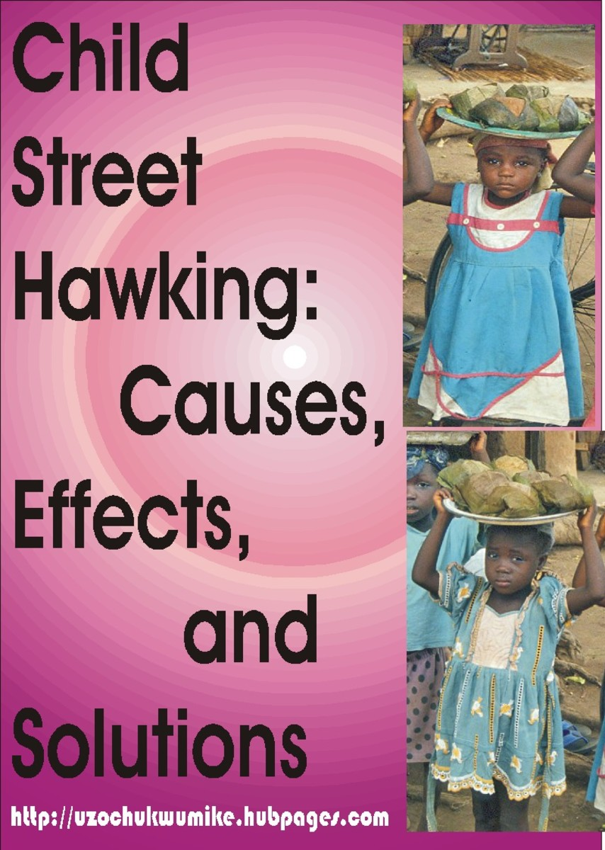 Child or children street hawking. It is about how girls and boys who are less than eighteen years are being sent out to the streets for hawking.