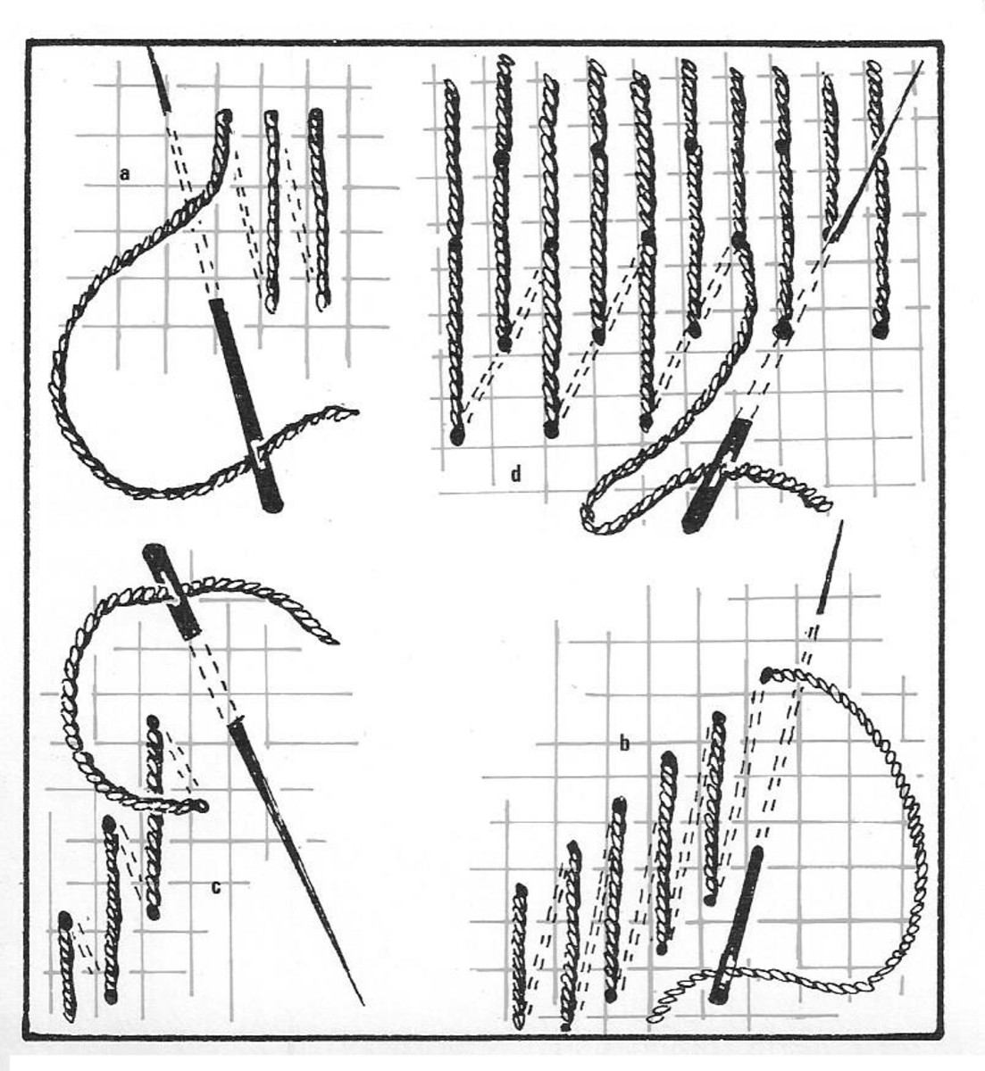 Figure 1 - Four stitch formations used in Bargello.