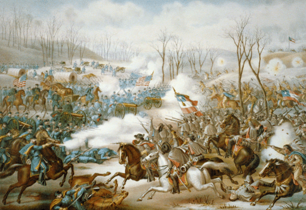 A painting showing the great Confederate cavalry charge at Leetown. If you look closely you can see Albert Pike's Indians charging Union artillery it was the high point of the battle for Confederate troops the charge involved over 4000 men.