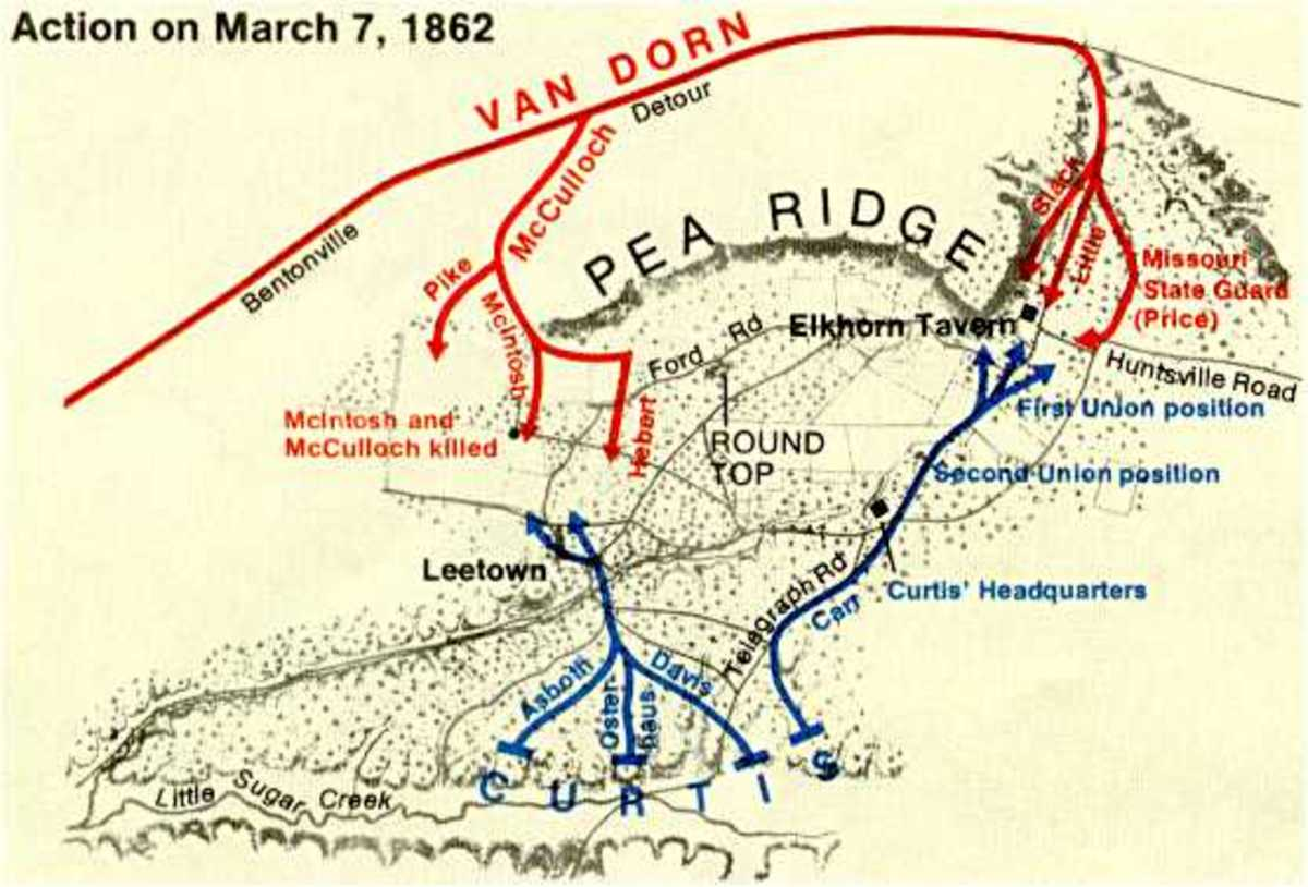 Map showing Van Dorn's overall strategy to attack the Curtis and his Union army in the rear at Pea Ridge