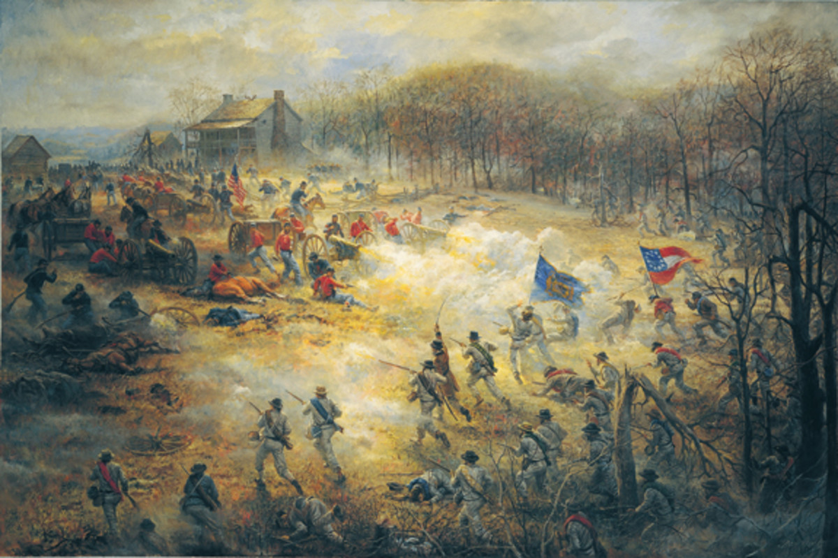 On the Battery. In this highly detailed painting by present-day artist Andy Thomas, Union and Confederate forces engaged in fierce combat near Elkhorn Tavern in the late afternoon of the first day of battle at Pea Ridge, March 7, 1862.