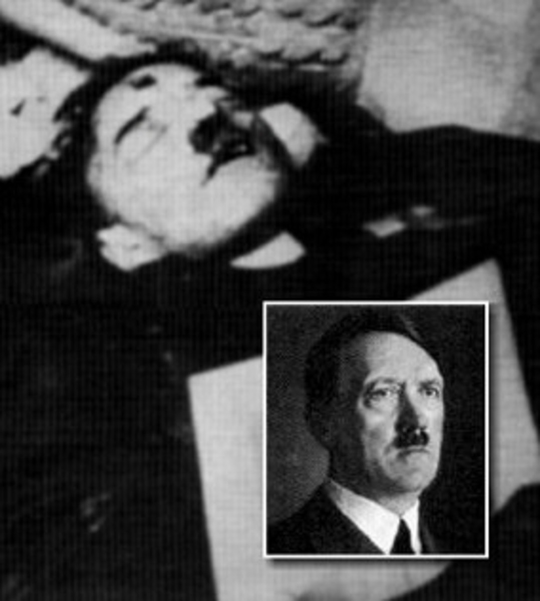 Russian photo of exhumed corpse of Hitler's double - May 2, 1945   (note bullet hole in forehead)