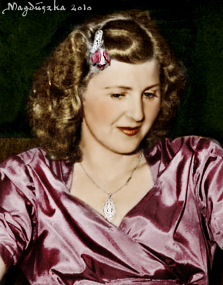Eva Braun. Strong nose, chin and blonde hair.