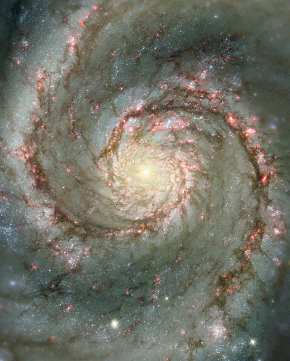 Viewing images of our Galaxy can certainly inspire us to recognize the existence of a Supreme Being. This is a prime example of a  Logarithmic Spiral or Golden Mean ratio.
