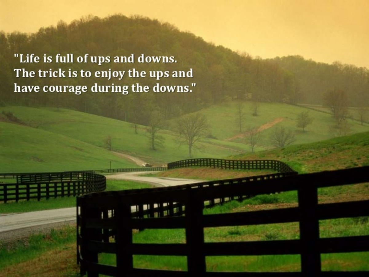 Life is Full of Ups & Downs. The tricks is to Enjoy the Ups & have Courage During the Downs!