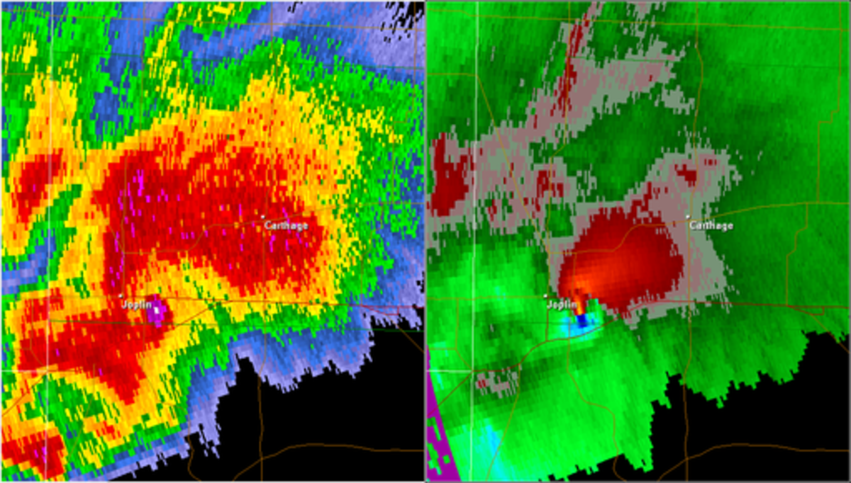 Radar showing Joplin, Missouri tornadic supercell  with high reflectivity indicating debris.