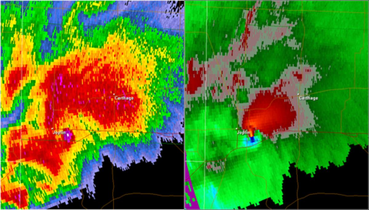 Radar showing Joplin, Missouri tornadic supercell  with high reflectivity indicating debris.