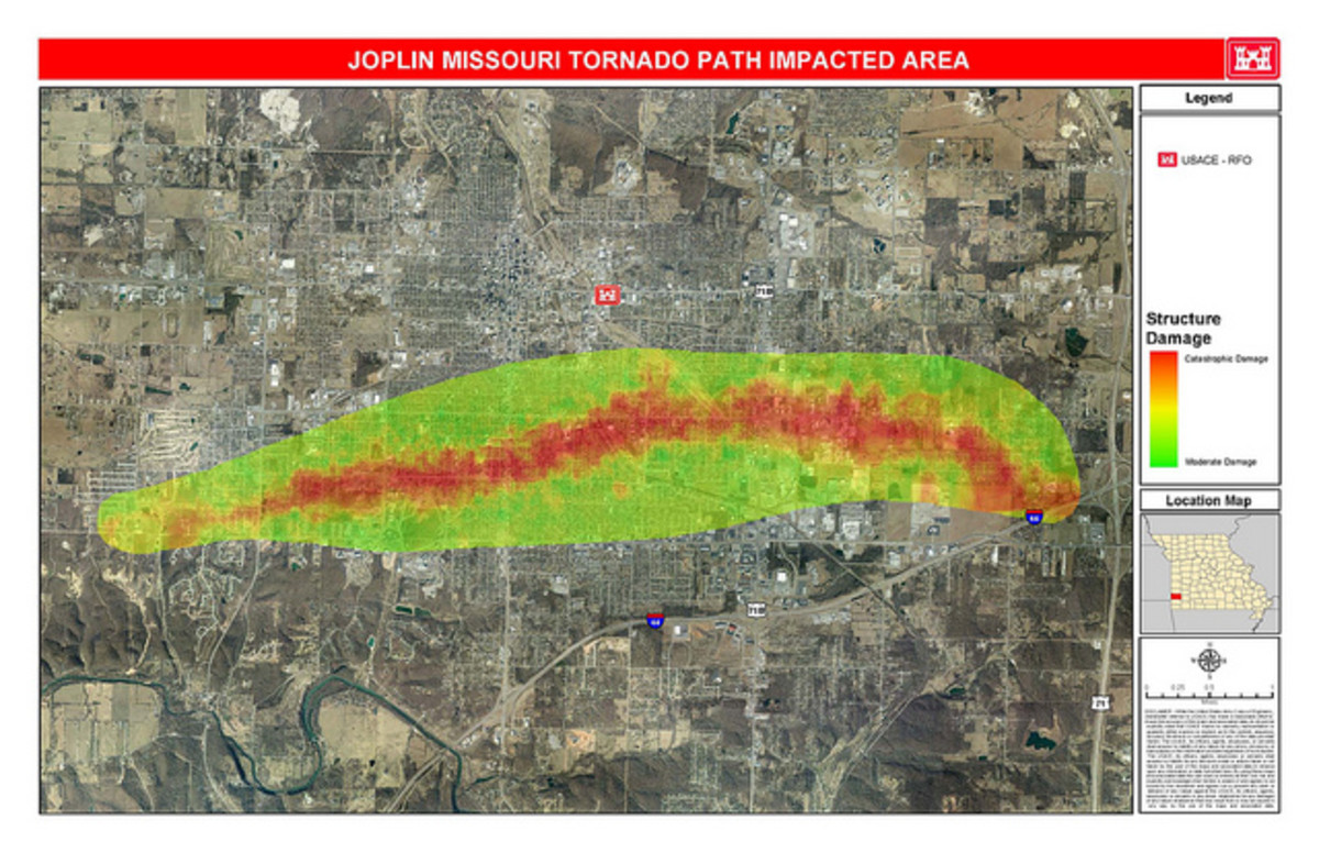 Damage path of the EF 5 Joplin, Missouri Tornado with red indicating EF 4/5 damage.