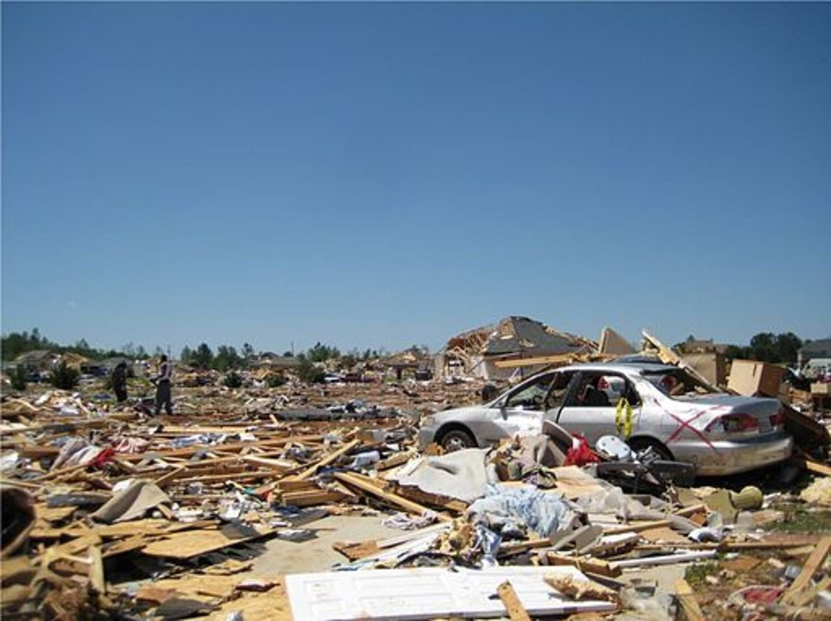 Destroyed neighborhood after Hackleburg-Phil Cambell, AL tornado