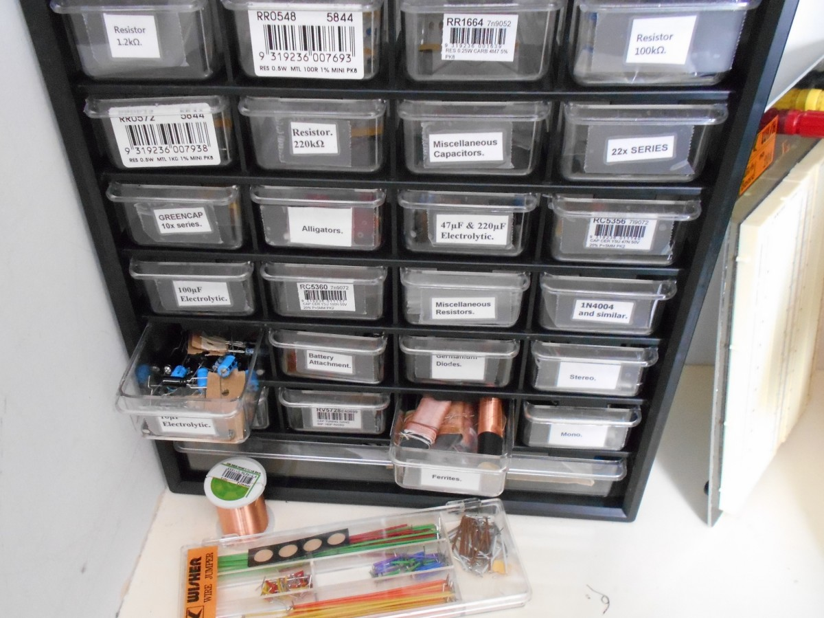 A cabinet of storage drawers is a must-have for storing the small electronics components.