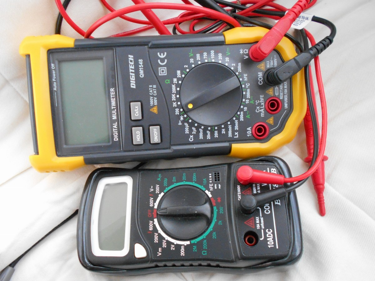 Multimeters are essential tools. The big multimeter costs $49 while the smaller one is just $10. Both are just as good for measuring voltage and current. A must-have for an electronics hobbyist.