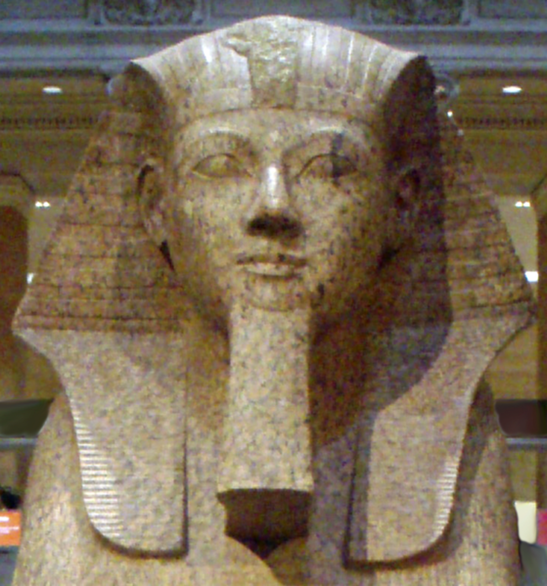 Large granite sphinx bearing the likeness of the female pharaoh Hatshepsut. Keith Schengili-Roberts CC-BY-SA-2.5