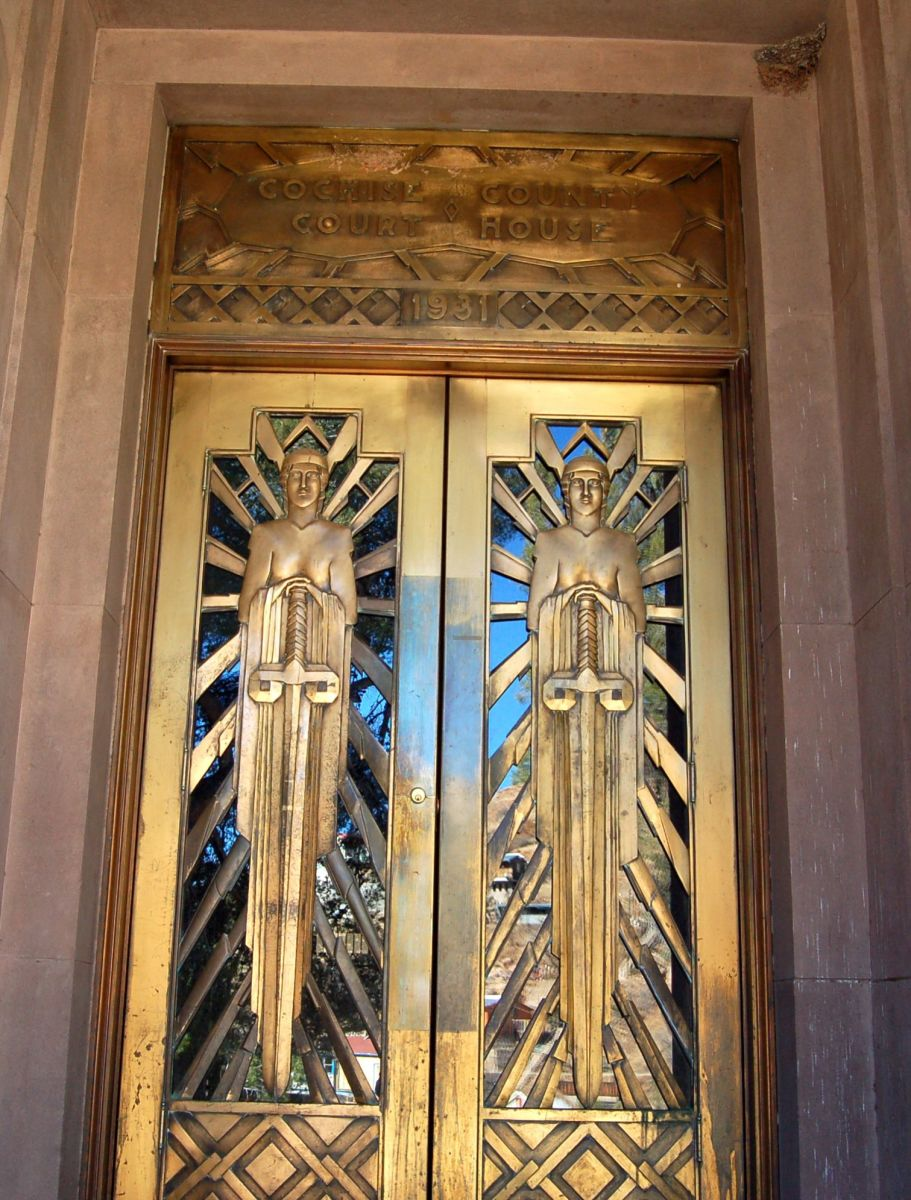 The sunburst rays and geometric designs of this door at the Cochise County Courthouse in Bisbee, Arizona make perfect designs for wrapping paper!