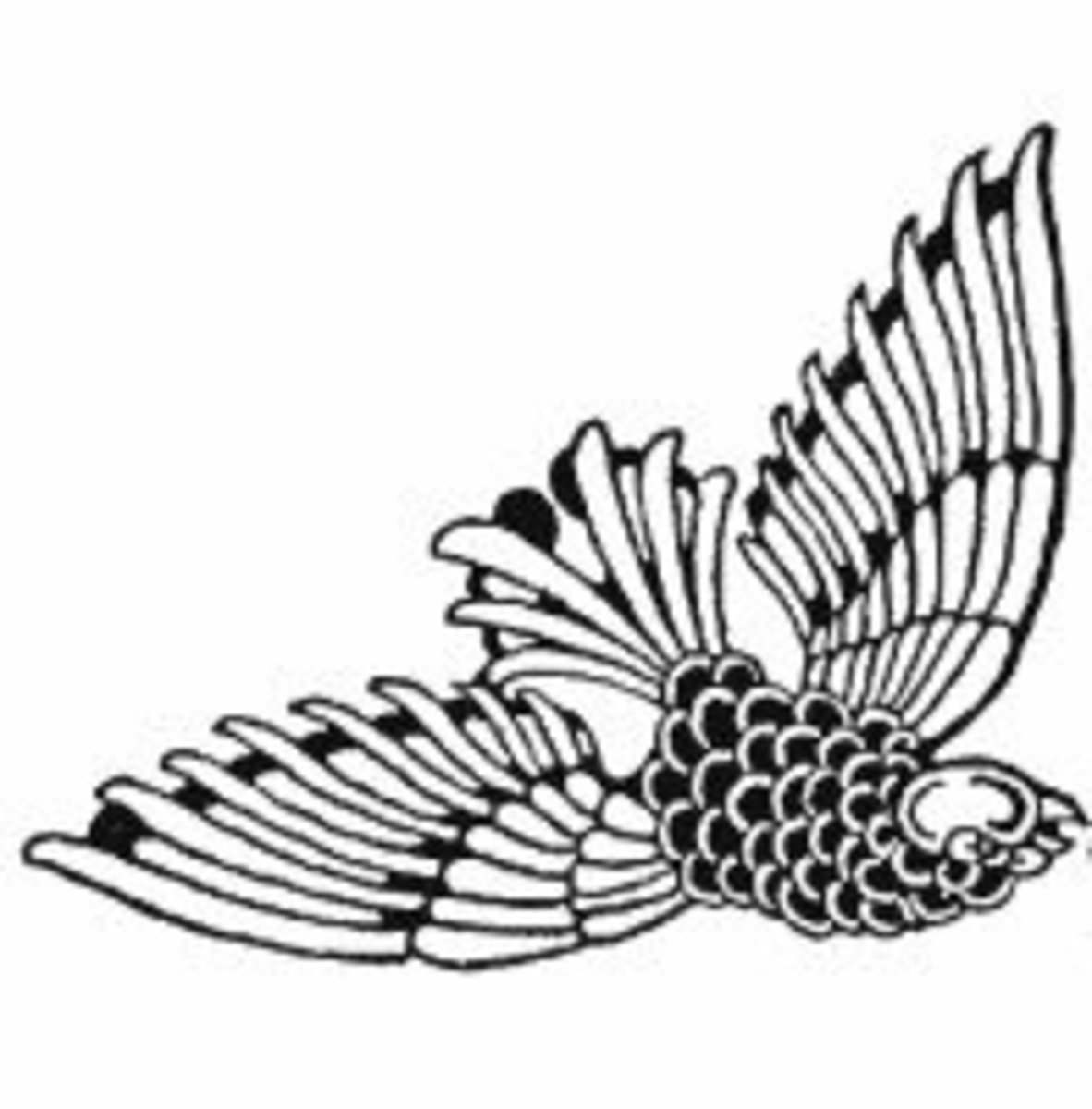 The stylization of the bird's feathers can be adapted to angel wings if you don't use birds in your Christmas decorations already.