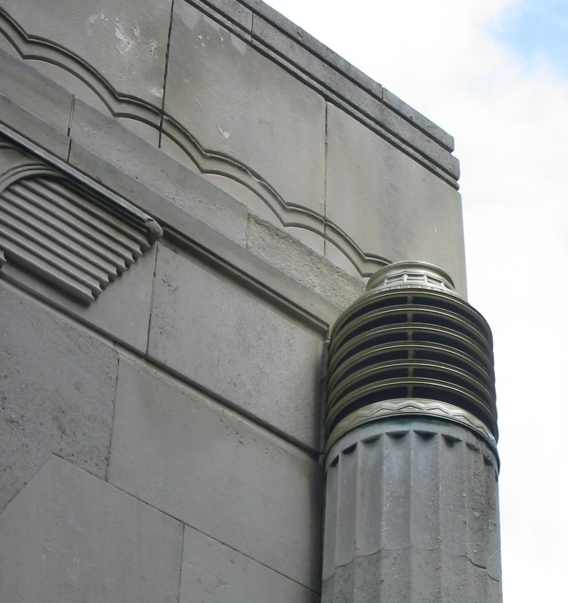 Another view of the Queensway tunnel in Liverpool, with details of the neat scalloped edges and simple pillars to show the clean lines of the style.