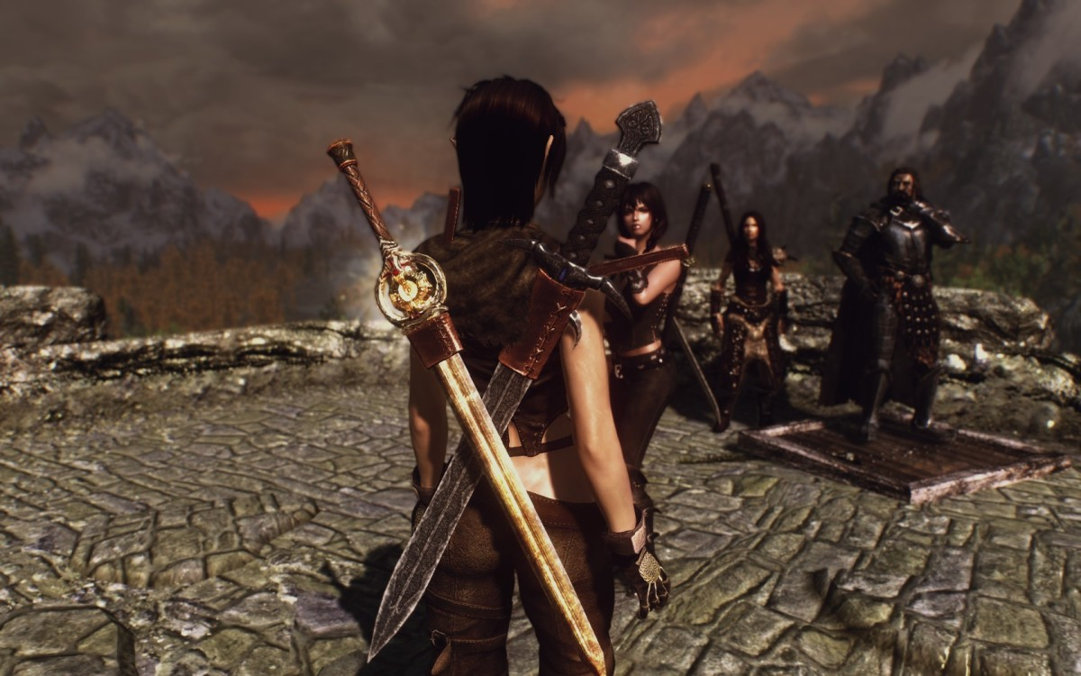 Dual Sheath Redux Skyrim mod allows you to see your left hand weapon when sheathed. Picture courtesy of Skyrim Nexus, Bethesda and Zenimax.