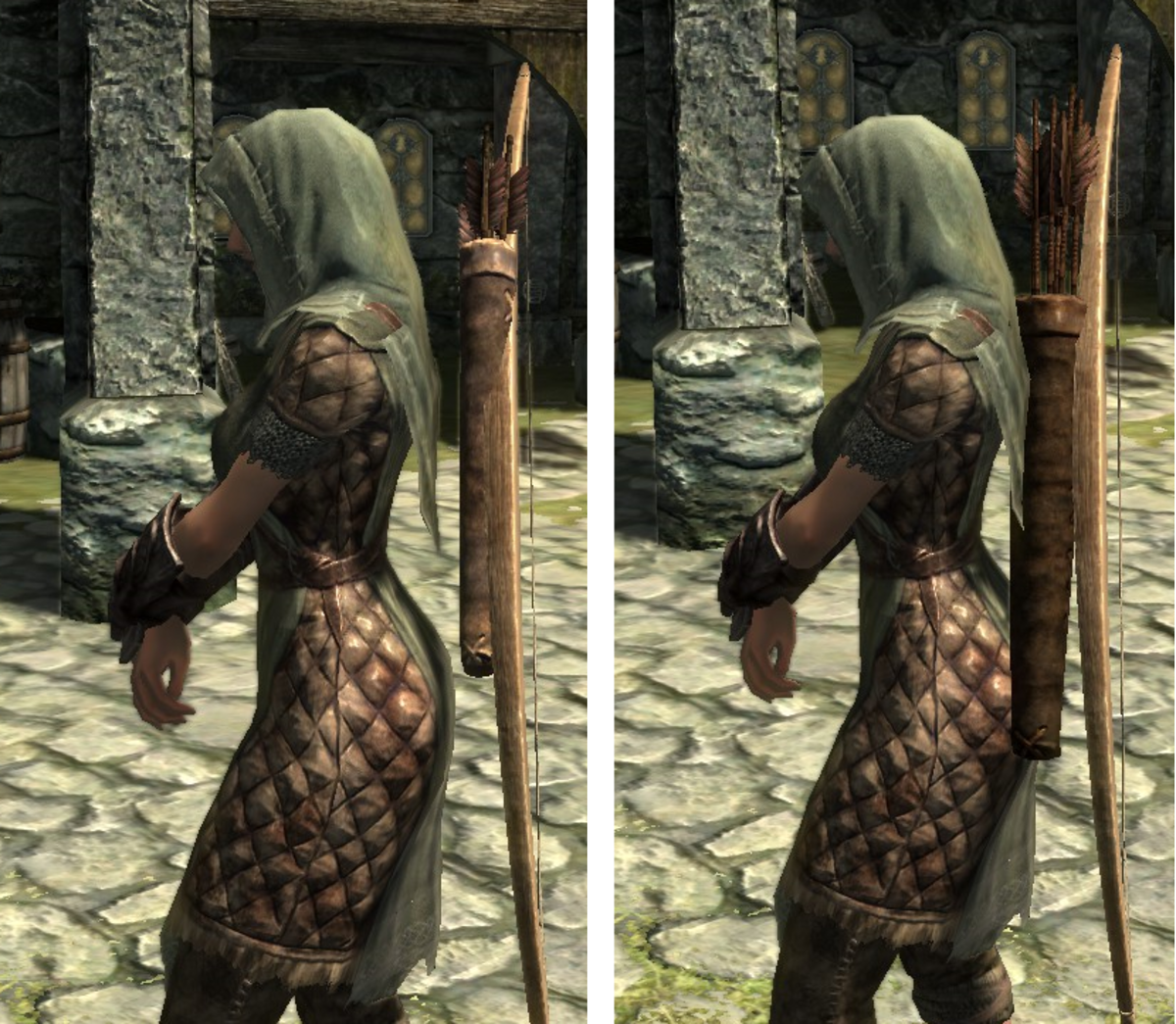 Closer Quivers and Longer Arrows by EvilDeadAsh34 fixes a bug so that quivers sit closer to the player character. Picture courtesy of Skyrim Nexus, Bethesda and Zenimax.