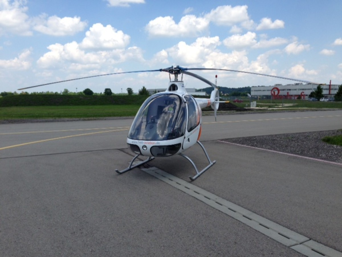 Cabri G2 Helicopter standing on the apron at Augsburg airport (EDMA) in Germany