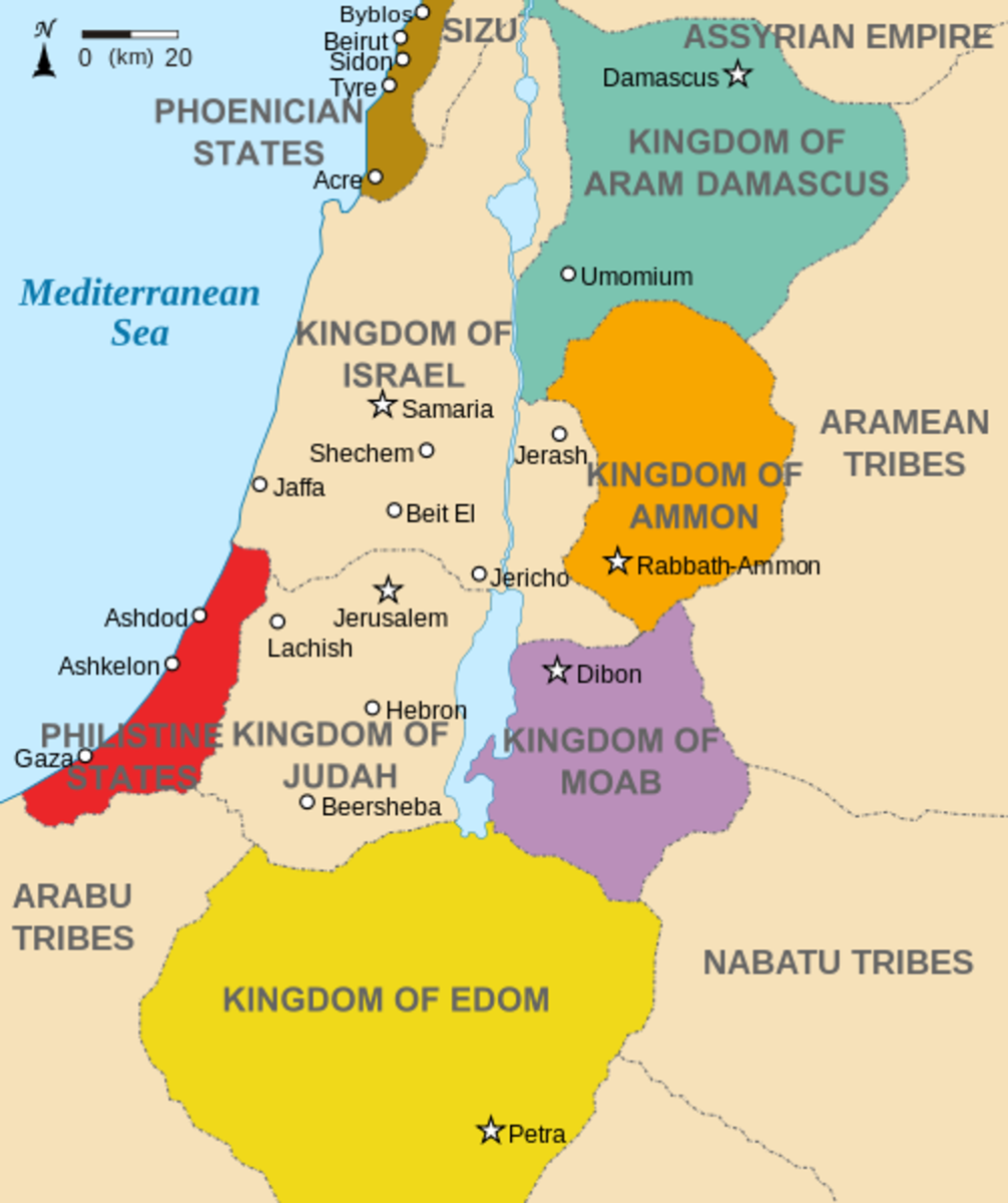 This map shows the Nations of Edom, Israel and Judah and their geographical relationships.