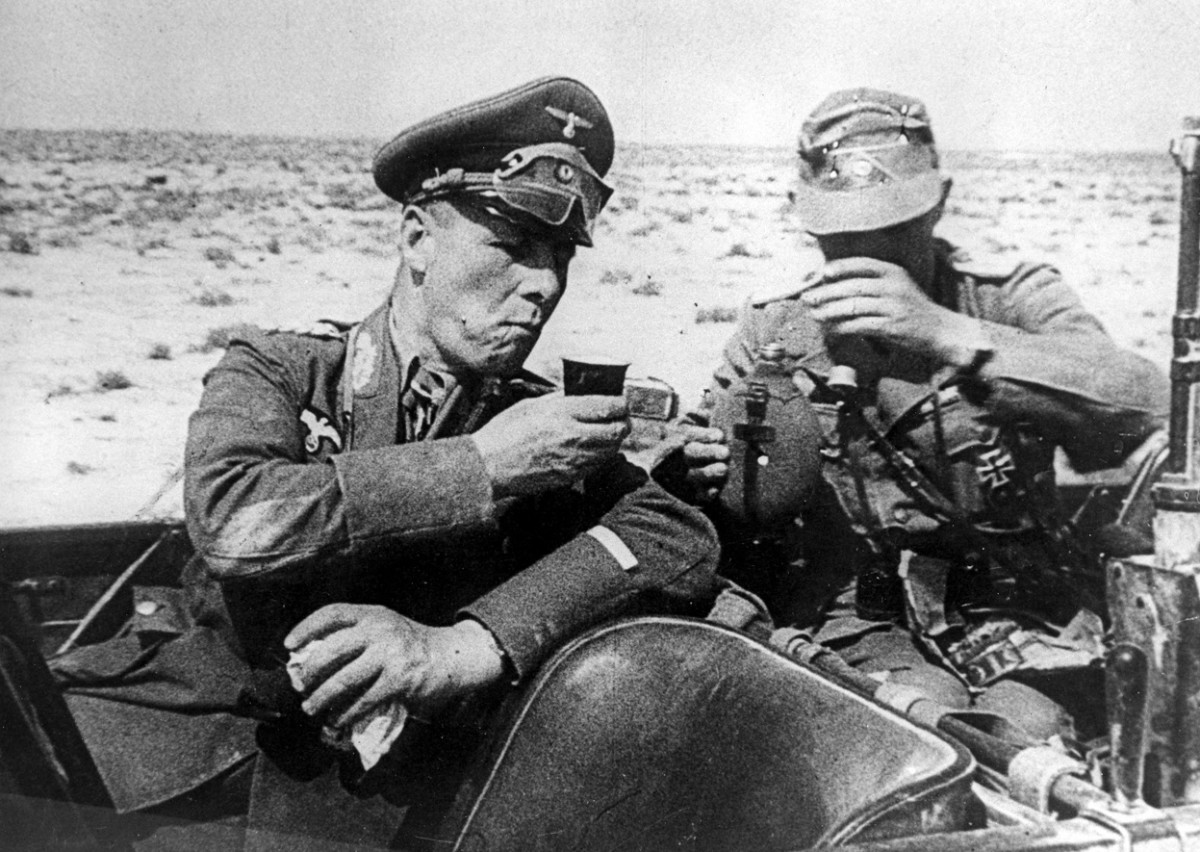 Rommel having a drink with a fellow German soldier in Africa