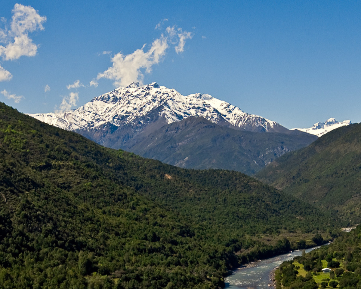 The present-day Tinguiririca River Valley. The volcano is the background stands over 14,000 feet high.