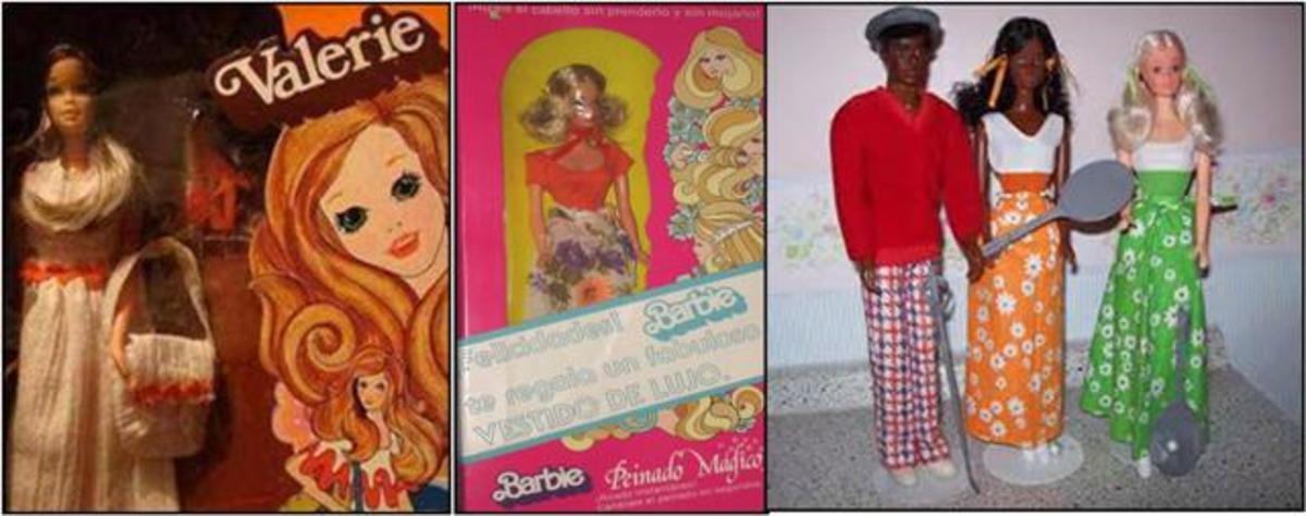 Valerie (#4331);  Barbie Doll Peinado Magico (Mexico) (#4332);  Free-Moving Curtis, Cara and P.J.