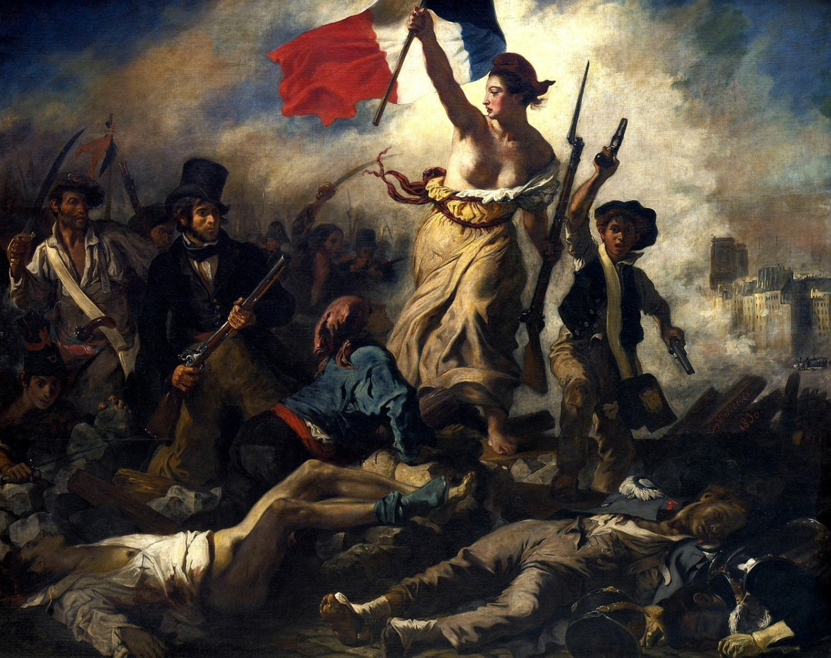A painting picturing equality,liberty and sovereignty during French revolution