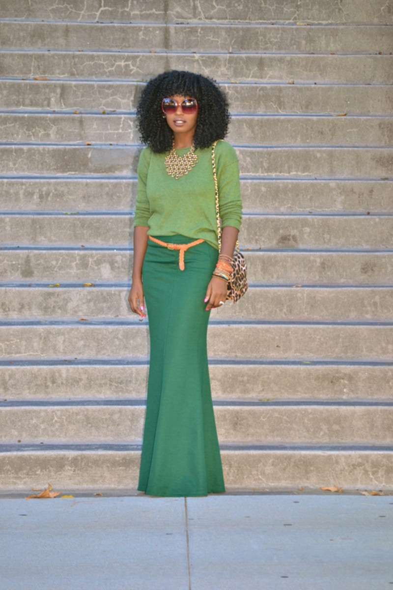 Green outfit with a mermaid style skirt