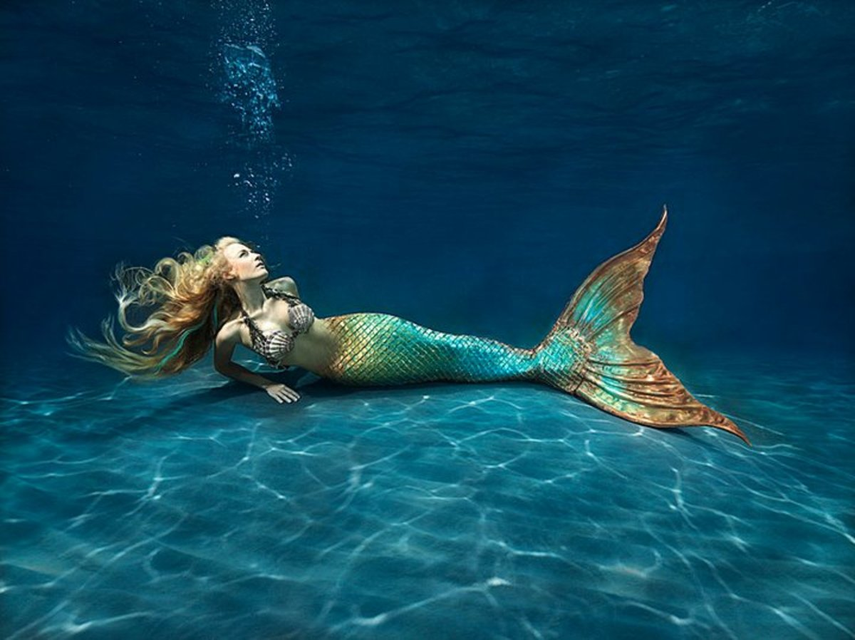 An underwater mermaid