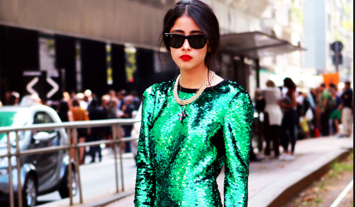 A long-sleeved sequined dress