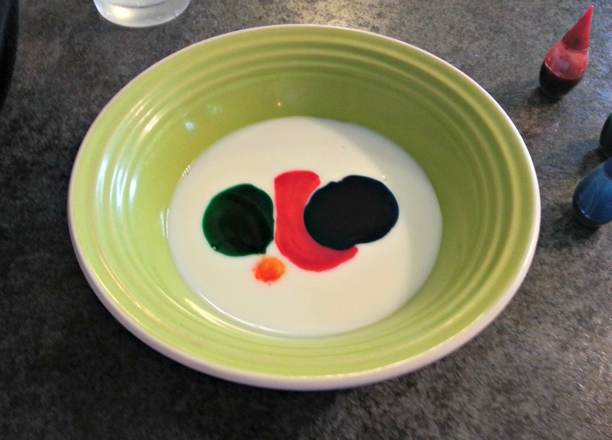 Food coloring and milk in a bowl ready for magic.