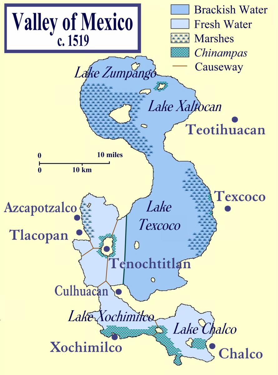 Lake Xochimilco and Lake Chalco map CC BY-SA 3.0