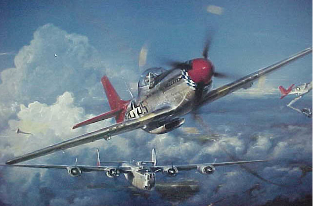 Luke J. Weathers, Jr. and his fellow Tuskegee Airmen flew 'Red Tail' planes similar to the one in this painting as they protected US bombers during WWII.