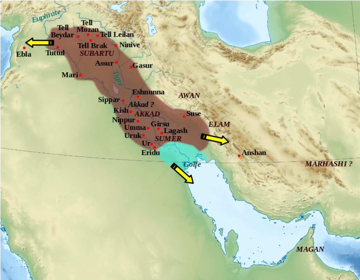 This shows the location of the Akkadian Empire.