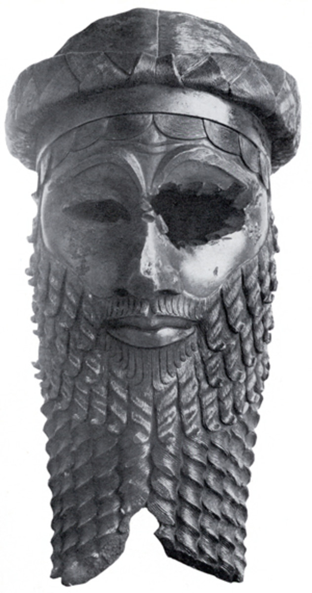 This is a life sized bronze sculpture of the head of an Akkadian ruler.  It was mutilated in antiquity.