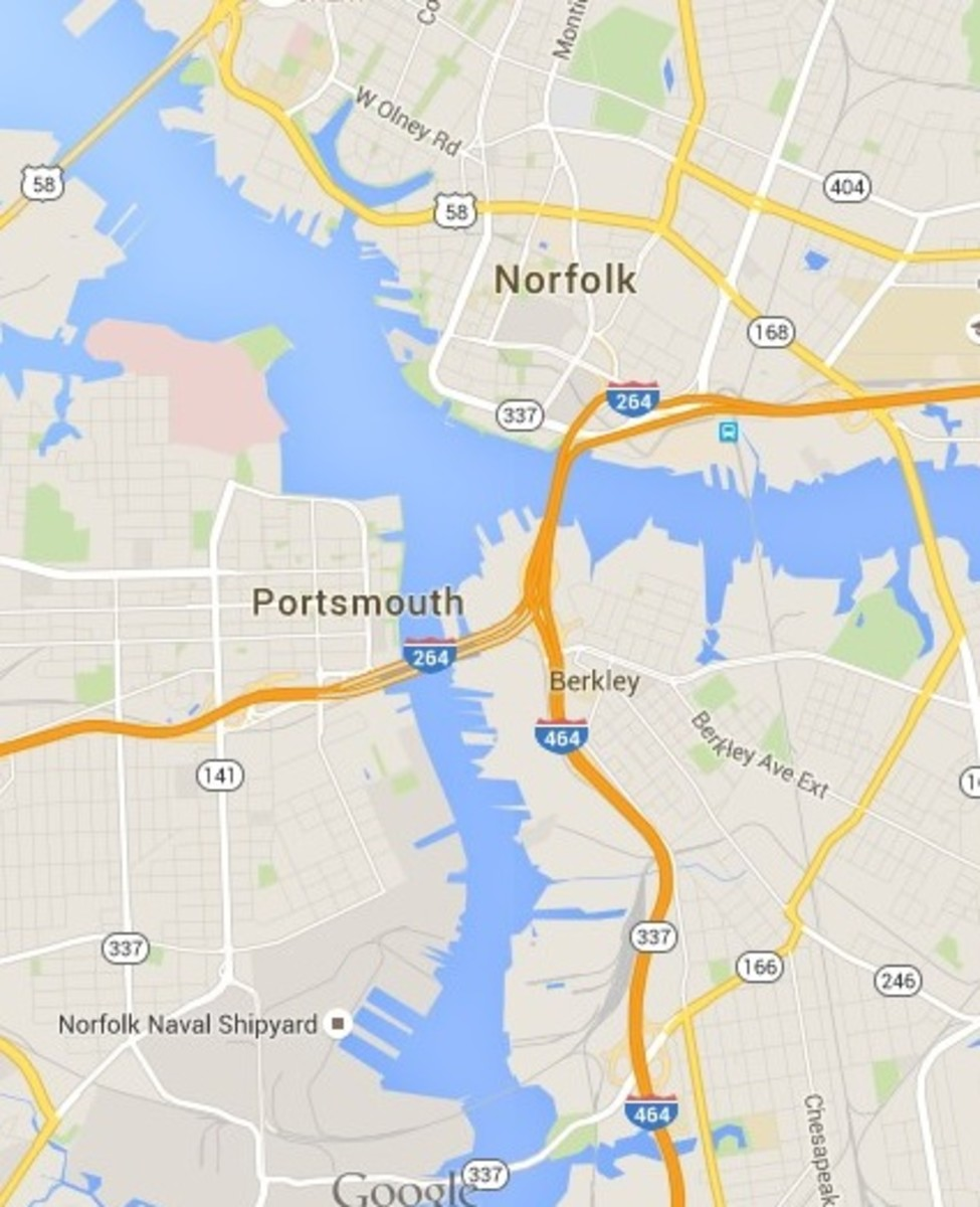 Bridge-Tunnel Systems for Portsmouth, VA. (Snapshot of Google Map)