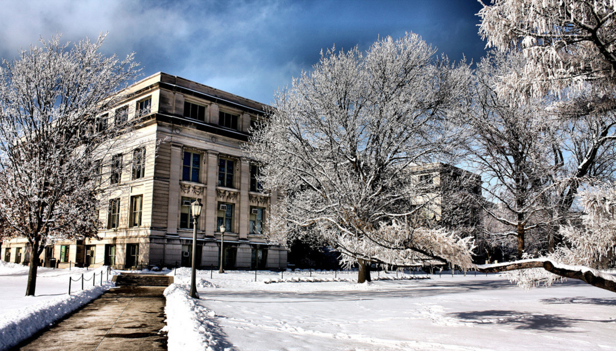 MacBride Hall on the University of Iowa campus in the winter.