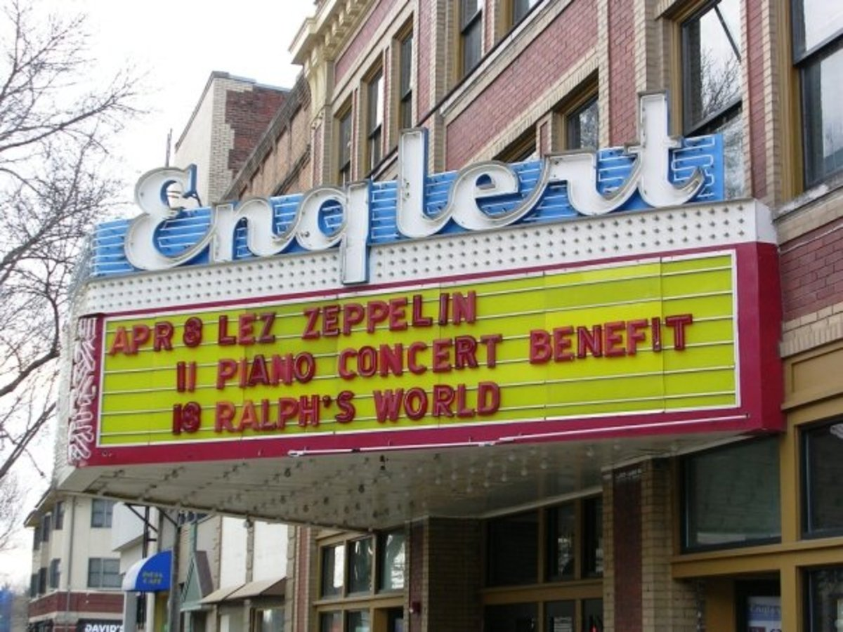 The iconic Englert theater in downtown Iowa City.