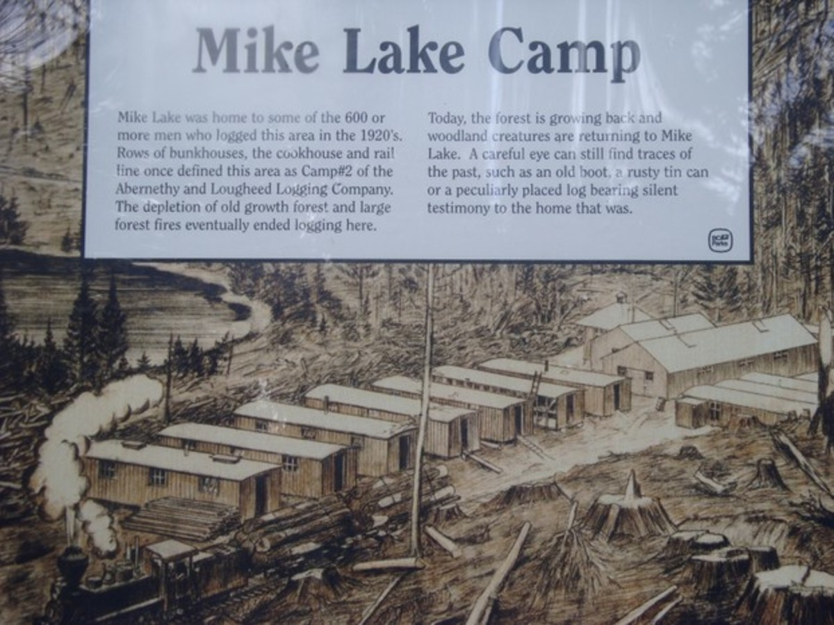 artist rendering of Mike Lake Camp, taken from original photograph