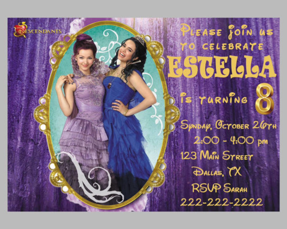 Personalized Disney Descendants Birthday Party Invitations