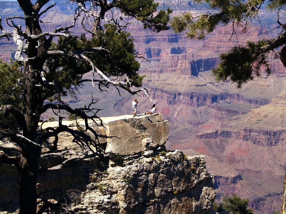 The south rim view is less colorful than the north rim