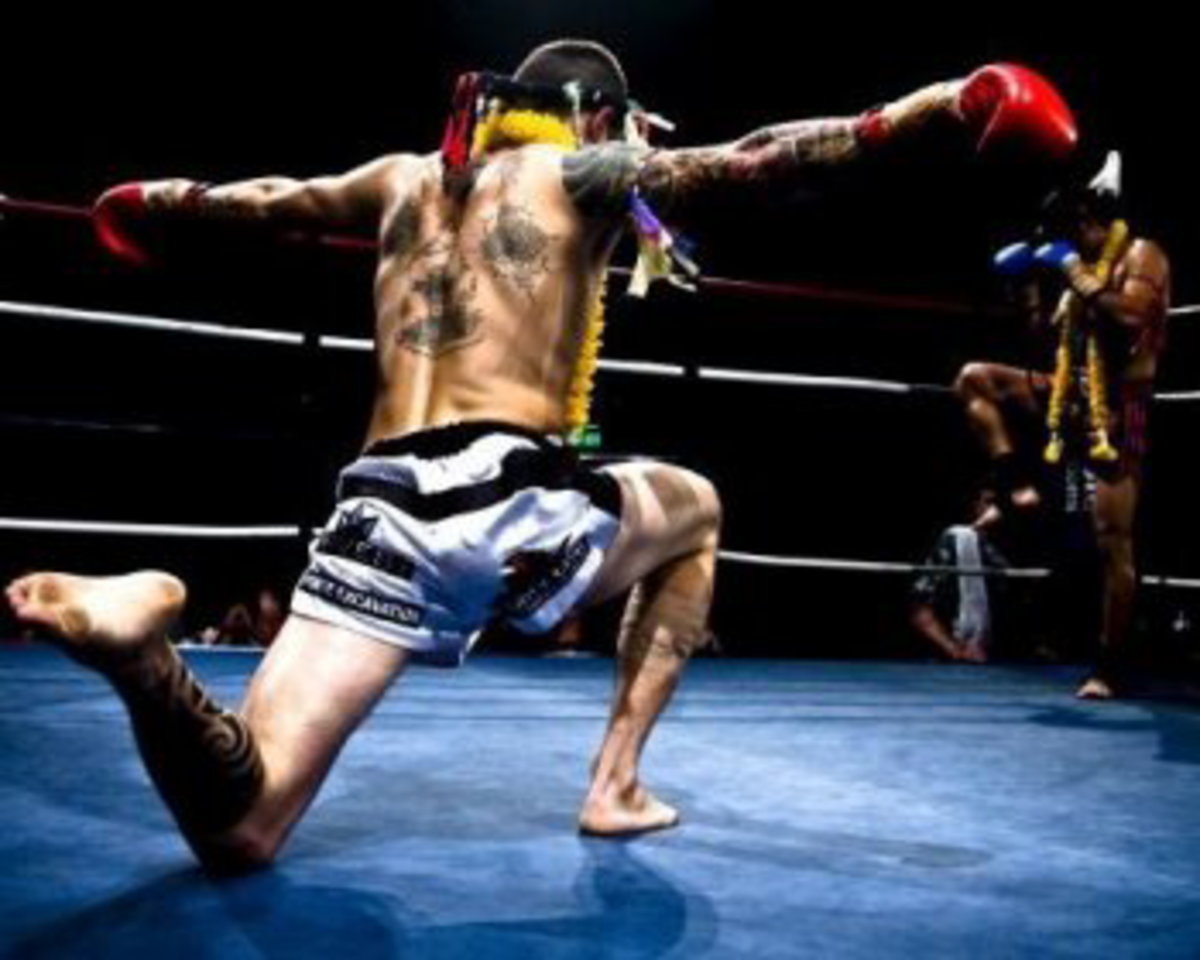The Waikru is an ancient dance done before a Muay Thai match. There are many versions of it and is used to show respect to the ancestors, the mentor, and sometimes to intimidate the opponent.
